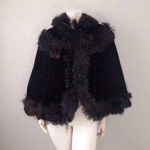 VTG 30's Black Velvet Ostrich Feather Goth Cape